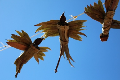 Organic birds made by Whyalla Stuart Primary School students and Namibian artist Kirsten Wechslberger